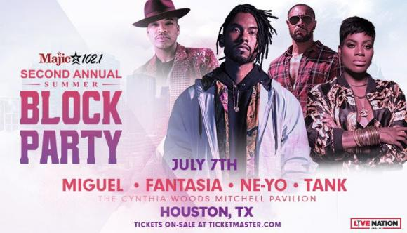 Majic 102.1 Summer Block Party: Miguel, Fantasia, Ne-Yo & Tank at Cynthia Woods Mitchell Pavilion